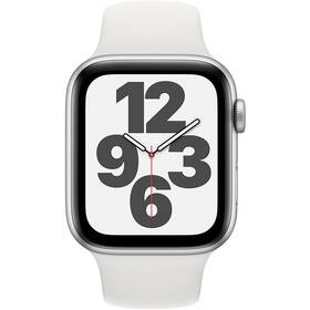 Chytré hodinky Apple Watch SE GPS 44mm pouzdro ze stříbrného hliníku - bílý sportovní náramek (MYDQ2HC/A)