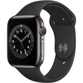 Chytré hodinky Apple Watch Series 6 GPS + Cellular, 40mm grafitově šedé pouzdro z nerezové oceli - černý sportovní náramek (M06X3HC/A)