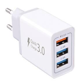 Nabíječka do sítě WG 3x USB, QC 3.0, 7,8 A (6823) bílá