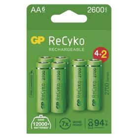 Baterie nabíjecí GP ReCyko, HR06, AA, 2600mAh, NiMH, krabička 6ks (1032226270)