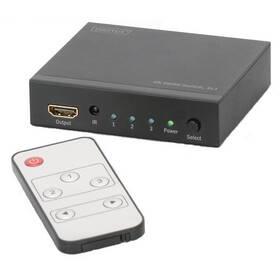 HDMI přepínač Digitus 3x1, podpora 4K + dálkové ovládání (DS-48304) černý