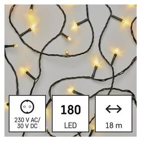 Vánoční osvětlení EMOS 180 LED řetěz, 18 m, venkovní i vnitřní, teplá bílá, časovač (D4AW04)