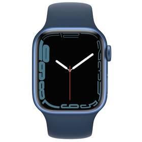 Chytré hodinky Apple Watch Series 7 GPS, 45mm pouzdro z modrého hliníku - hlubokomořsky modrý sportovní řemínek (MKN83HC/A)