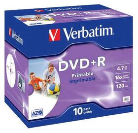 Disk Verbatim Printable DVD+R 4,7GB, 16x, jewel box, 10ks (43508)