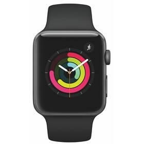 Chytré hodinky Apple Watch Series 3 GPS 42mm pouzdro z vesmírně šedého hliníku - černý sportovní řemínek (MTF32CN/A)