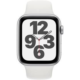 Chytré hodinky Apple Watch SE GPS 40mm pouzdro ze stříbrného hliníku - bílý sportovní náramek (MYDM2HC/A)