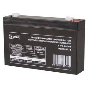 Olověný akumulátor EMOS bezúdržbový 6 V/7 Ah, faston 4,7 mm (B9659)
