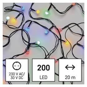 Vánoční osvětlení EMOS 200 LED cherry řetěz - kuličky, 20 m, venkovní i vnitřní, multicolor, programy (D5AM06)