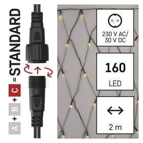 Spojovací řetěz EMOS 160 LED Standard - síť, 1,5x2 m, venkovní, teplá bílá, časovač (D1DW01)