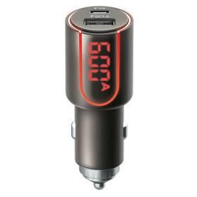 Adaptér do auta Forever Core, 1x USB QC 3.0, 1x USB-C PD 30W, s displejem (GSM045487) černý