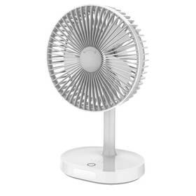 Ventilátor PLATINET nabíjecí, stolní, 3 stupně výkonu, 3000 mAh (PRDF0326) šedý/bílý
