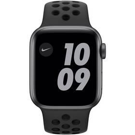 Chytré hodinky Apple Watch Nike SE GPS 40mm pouzdro z vesmírně šedého hliníku - antracitový/černý sportovní náramek Nike (MYYF2HC/A)