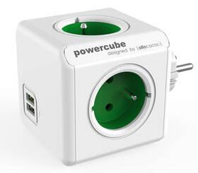 Rozbočovací zásuvka Powercube Original USB,  4x zásuvka, 2x USB bílá/zelená
