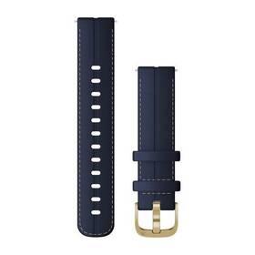 Řemínek Garmin Quick Release 18mm pro Vivoactive4S, kožený modrý, zlatá přezka (010-12932-08)
