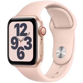 Chytré hodinky Apple Watch SE GPS + Cellular, 44mm pouzdro ze zlatého hliníku - pískově růžový sportovní náramek (MYEX2HC/A)