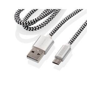 Kabel GoGEN USB / micro USB, 1m, opletený, zkumavka (MICUSB100MM24T) stříbrný