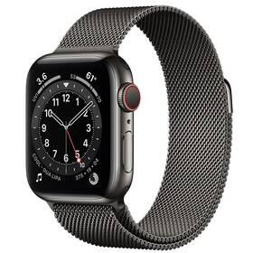 Chytré hodinky Apple Watch Series 6 GPS + Cellular, 44mm grafitově šedé pouzdro z nerezové oceli - grafitově šedý milánský tah (M09J3HC/A)