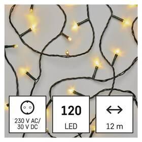 Vánoční osvětlení EMOS 120 LED řetěz, 12 m, venkovní i vnitřní, teplá bílá, časovač (D4AW03)