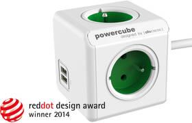 Kabel prodlužovací Powercube Extended USB, 4x zásuvka, 2x USB, 1,5m zelený