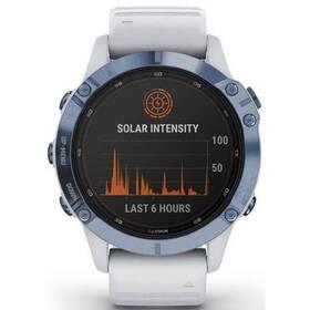 GPS hodinky Garmin fenix6 PRO Solar - Titanium Blue/White Band (MAP/Music) (010-02410-19)