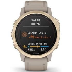 GPS hodinky Garmin fenix6S PRO Solar - Light Gold/Sand Band (MAP/Music) (010-02409-11)