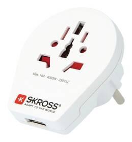 Cestovní adaptér SKROSS pro cizince v ČR, vč. 1x USB 2100mA (PA30USB) bílý