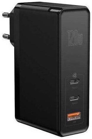 Baseus GaN 2 Mini USB, 2× USB-C, 120 W + USB-1 kabel, černá